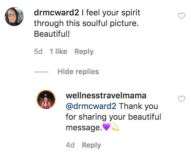 A fan commented on a photo of Shannon Amos sitting in the middle of a road at theSangre de Cristo Wilderness | Source: Instagram.com/wellnesstravelmama