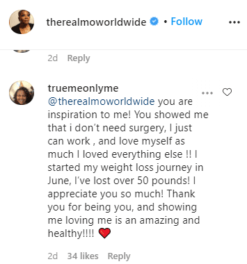 Screenshot of a fan's comment on Monique Hicks' photo.   Source: Instagram/@therealmoworldwide