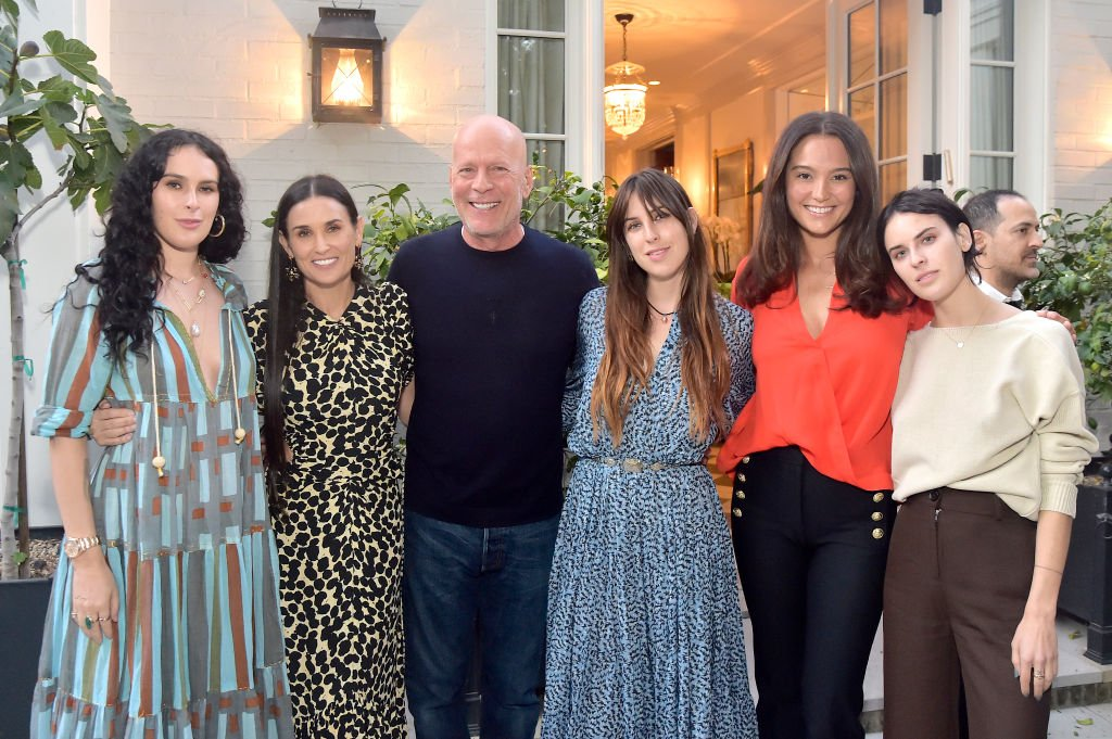 Rumer Willis, Demi Moore, Bruce Willis, Scout Willis, Emma Heming Willis and Tallulah Willis attend Demi Moore's 'Inside Out' Book Party on September 23, 2019 | Photo: Getty Images