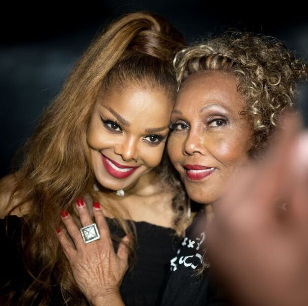 Janet Jackson and Ja'net Dubois at the Janet Jackson's State Of The World Tour After Party at Lure on October 8, 2017 | Source: Getty Images/GlobalImagesUkraine