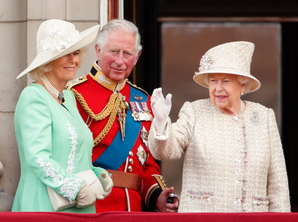 Camilla, Duchess of Cornwall, Prince Charles and Queen Elizabeth II during Trooping The Colour,  on June 8, 2019 in London, England | Photo: GettyImages