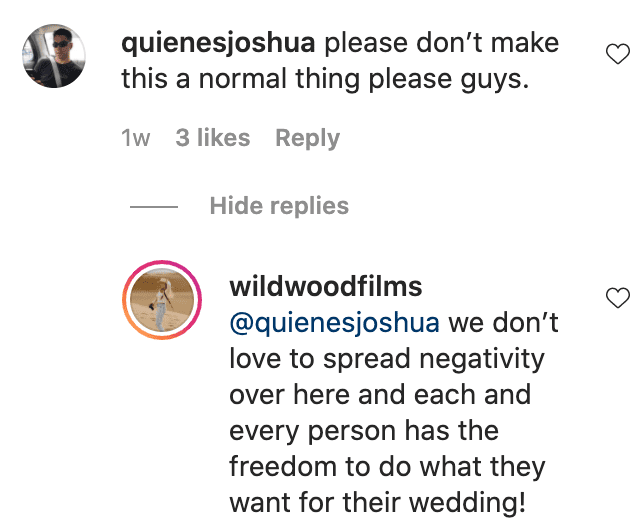 Netizens react to a bride and groom who decided to wear casual attire to their wedding reception   Photo: Instagram/wildwoodfilms
