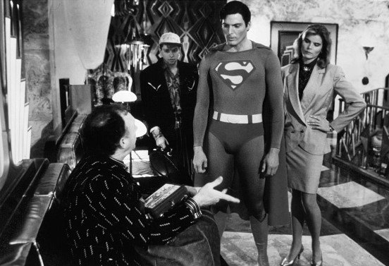 """Actors Gene Hackman and Christopher Reeve and actress Mariel Hemingway in a scene from the Warner Bros. movie """"Superman IV: The Quest for Peace"""" 
