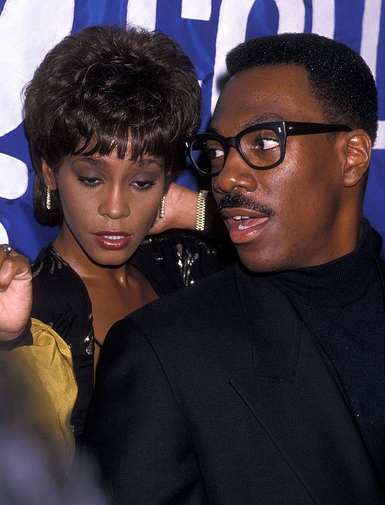 "Singer Whitney Houston and comedian/actor Eddie Murphy attend the United Negro College Fund's 10th Annual ""Lou Rawls Parade of Stars"" Telethon Kick-Off Party 