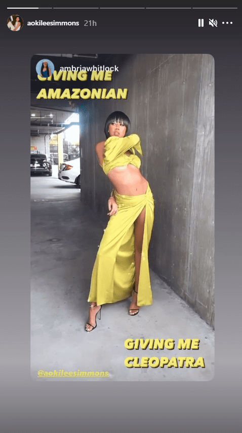 Aoki Lee Simmons shares a picture of herself modeling a yellow outfit.   Photo: Instagram/Aokileesimmons