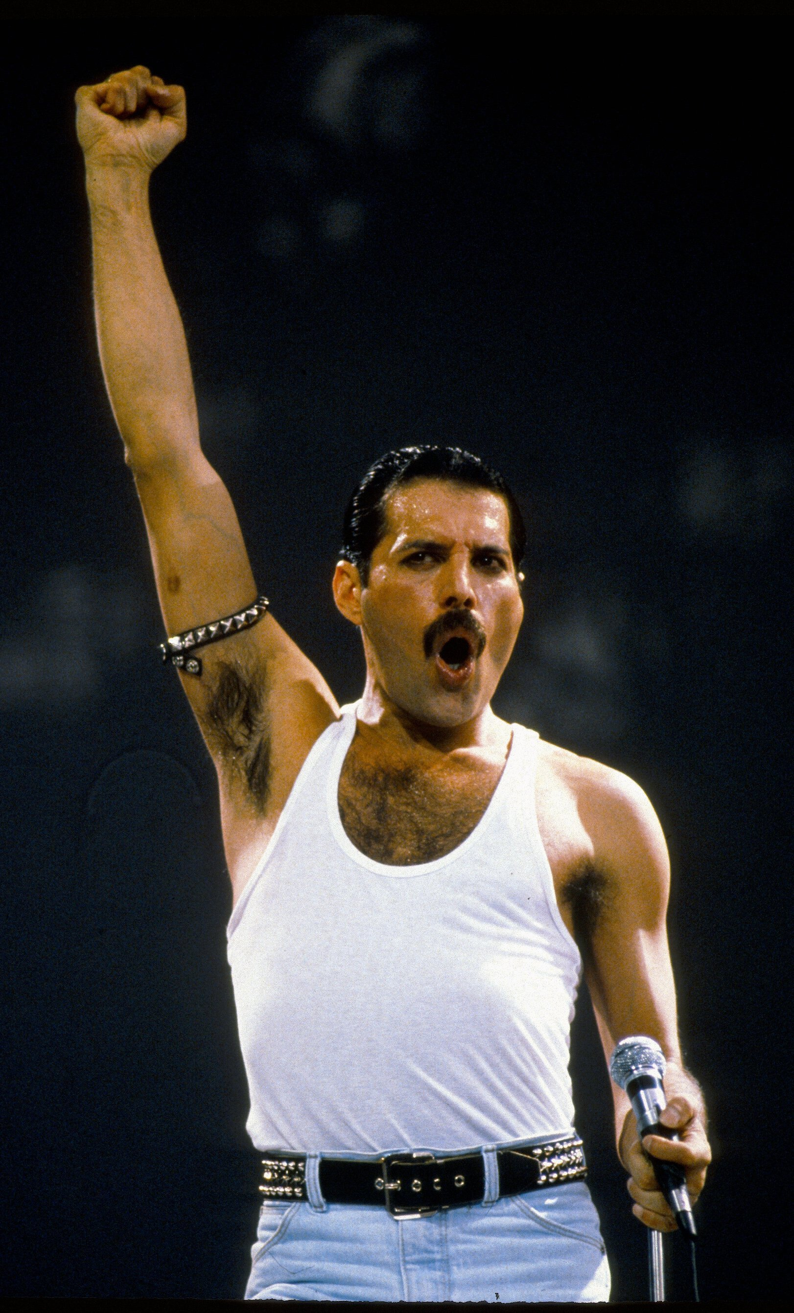 Freddie Mercury at the Live Aid concert on July 13, 1985 in London, England | Source: Getty Images