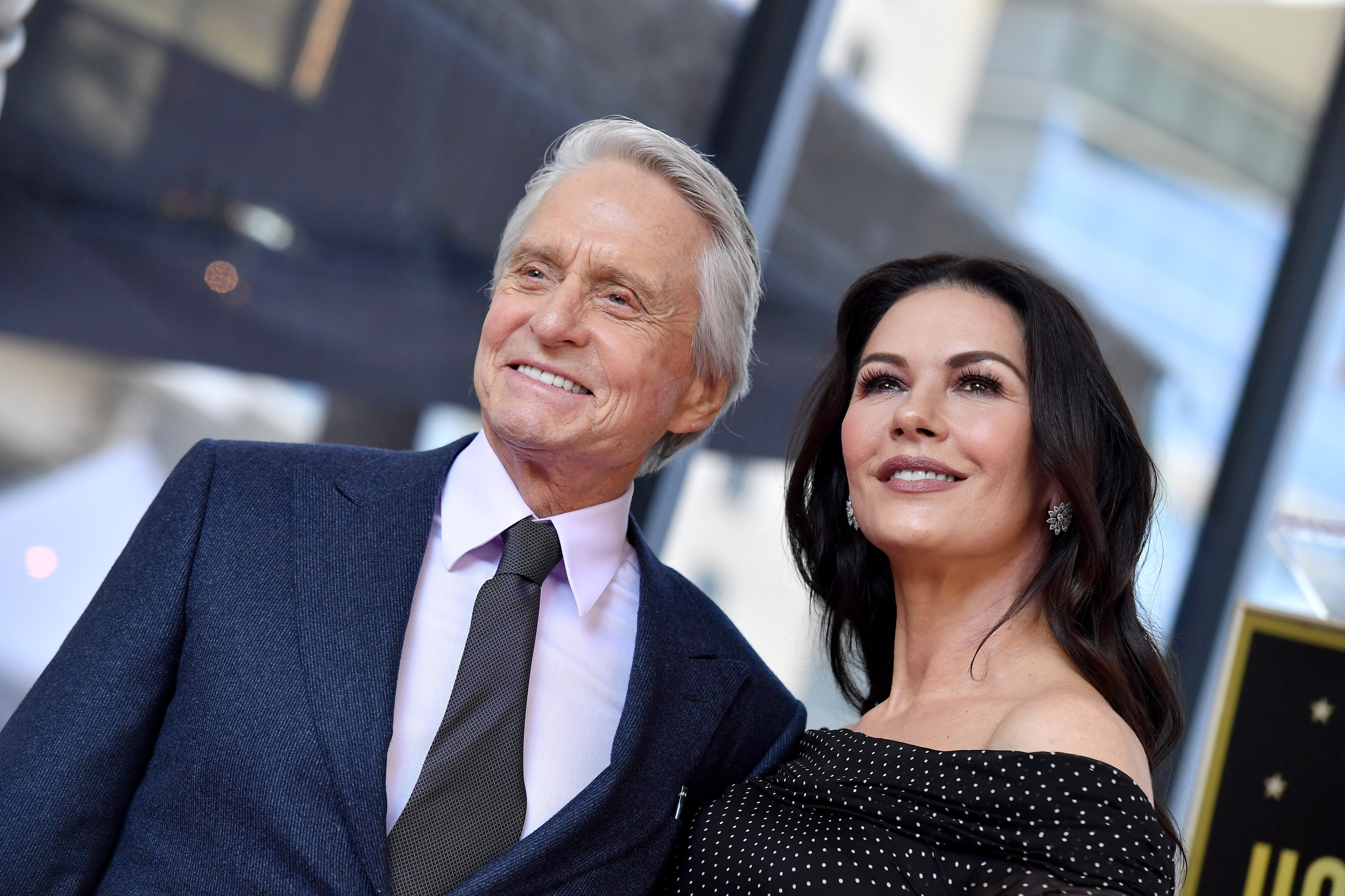 Michael Douglas and Catherine Zeta-Jones attend the ceremony honoring her husband with a star on the Hollywood Walk of Fame on November 6, 2018. | Photo: Getty Images