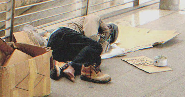 I caught sight of a poor homeless man who stumbled and collapsed on the street   Source: Shutterstock