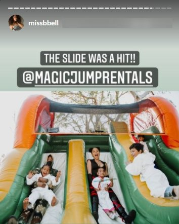 Brittany Bell and her son Golden enjoying the bouncy castle slide at his birthday party   Photo: Instagram/missbell