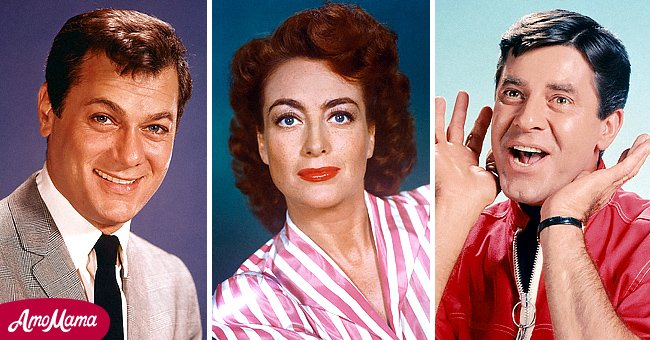 A picture montage of Tony Curtis, Joan Crawford and Jerry Lewis | Photo: Getty Images