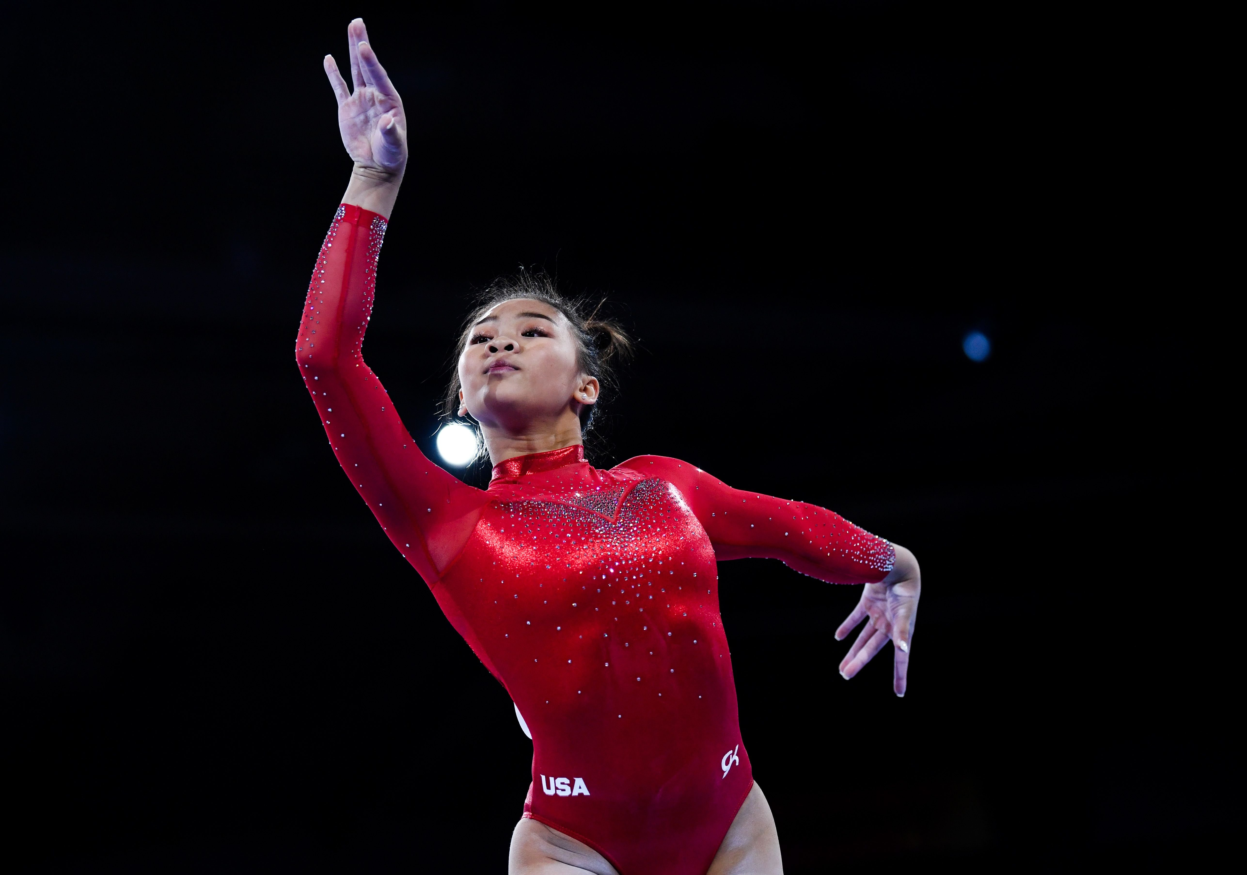 Sunisa Lee performs during the Women's All-Around Final of FIG Artistic Gymnastics World Championships on October 10, 2019, in Stuttgart, Germany   Photo:Laurence Griffiths/Getty Images