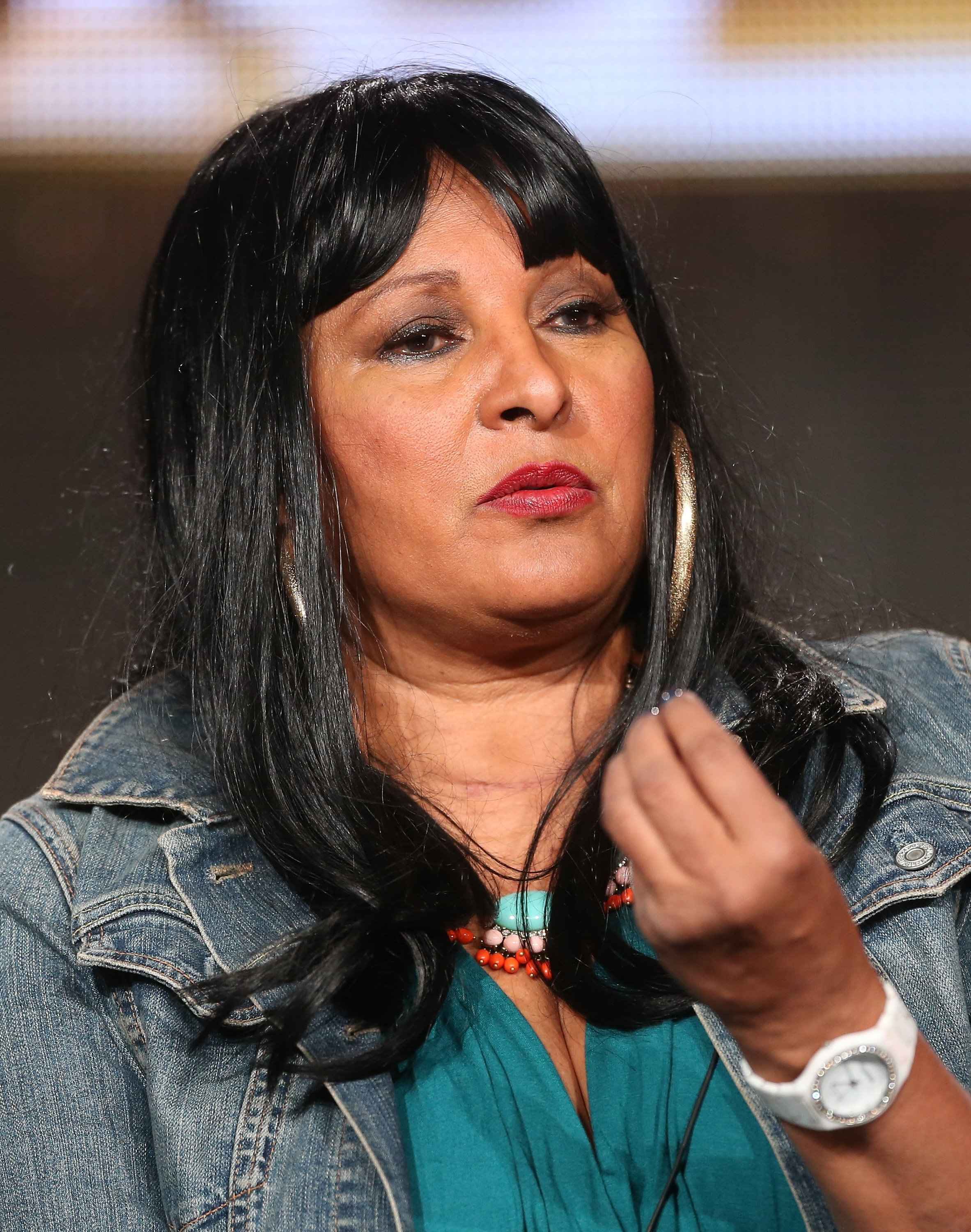 """Pam Grier speaking as part of the panel during """"Unsung Hollywood"""" at the 2014 Winter Television Critics Association tour on January 9, 2014 in Pasadena, California.  