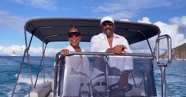 Steve Harvey & His Wife Marjorie Don All-White Outfits While Riding a Boat Together (Video)