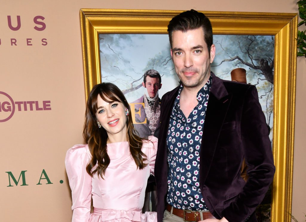 "Zooey Deschanel and Jonathan Scott attend the premiere of Focus Features' ""Emma."" at DGA Theater on February 18, 2020 