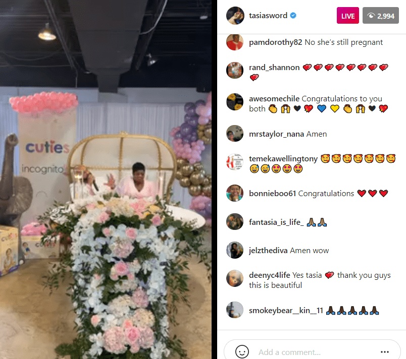 A screenshot of Fantasia Barrino and her husband, Kendal Taylor during their baby shower | Photo: Instagram/tasiasworld