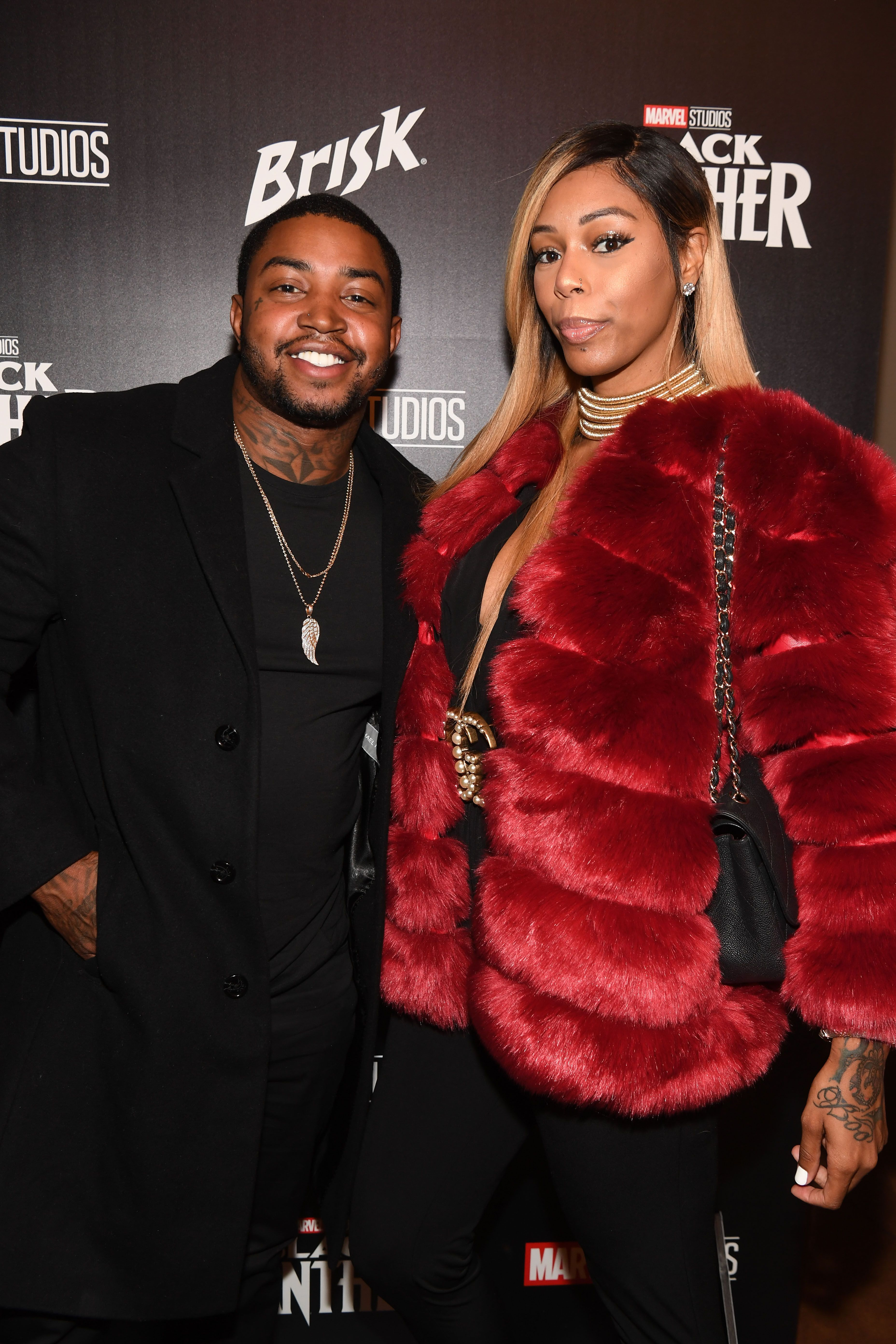 """Rapper Lil Scrappy and Adiz 'Bambi' Benson at the """"Black Panther"""" Advanced Screening & Panel Discussion on February 14, 2018. 