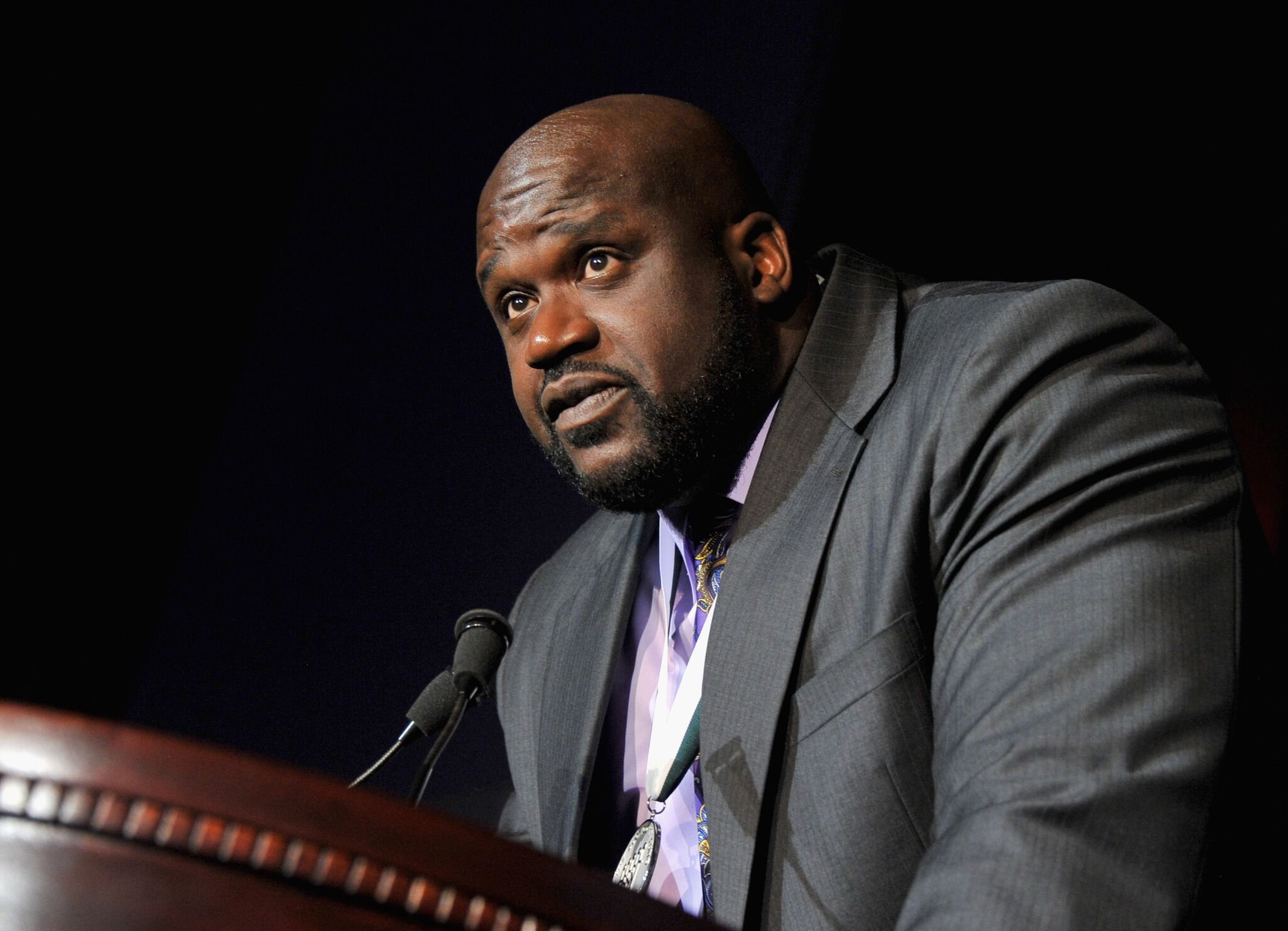 NBA basketball player Shaquille O'Neal speaks onstage at the 27th Annual Great Sports Legends Dinner to benefit the Buoniconti Fund to Cure Paralysis at The Waldorf=Astoria on September 24, 2012 | Photo: Getty Images