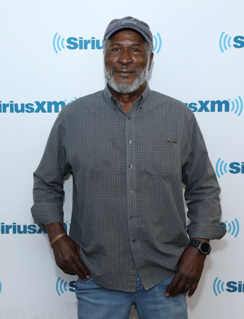 """Good Times"" actor John Amos, the father of Shannon Amos, visits the SiriusXM Studios in New York in 2017. 