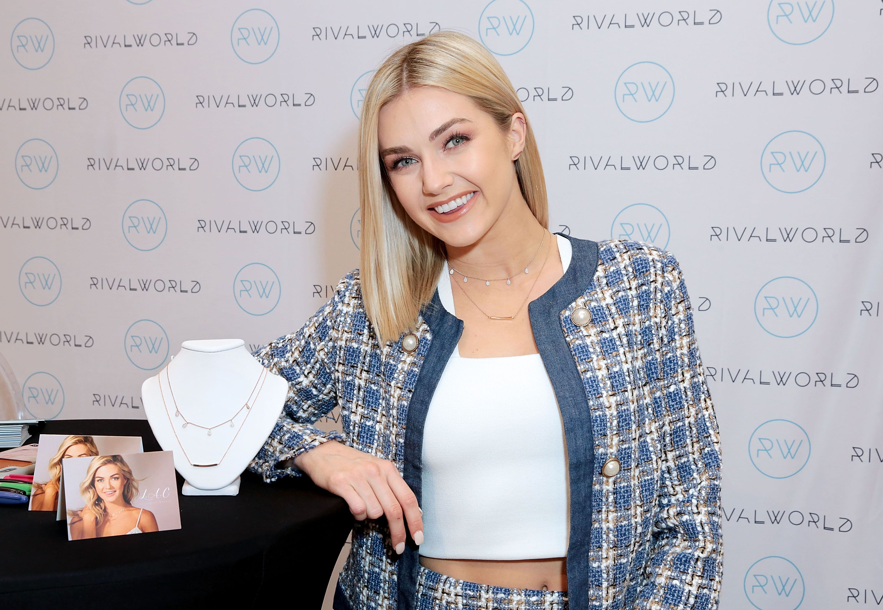 Lindsay Arnold poses with L.A.C. by Lindsay Arnold jewelry during the launch of the RivalWorld Market on February 5, 2019, in Century City, California   Photo:Rachel Murray/Getty Images