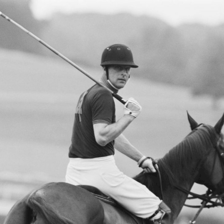 Prince Philip, Duke of Edinburgh, playing polo at Windsor Park, UK, 28th July 1967. (Photo by Daily Express/Getty Images)