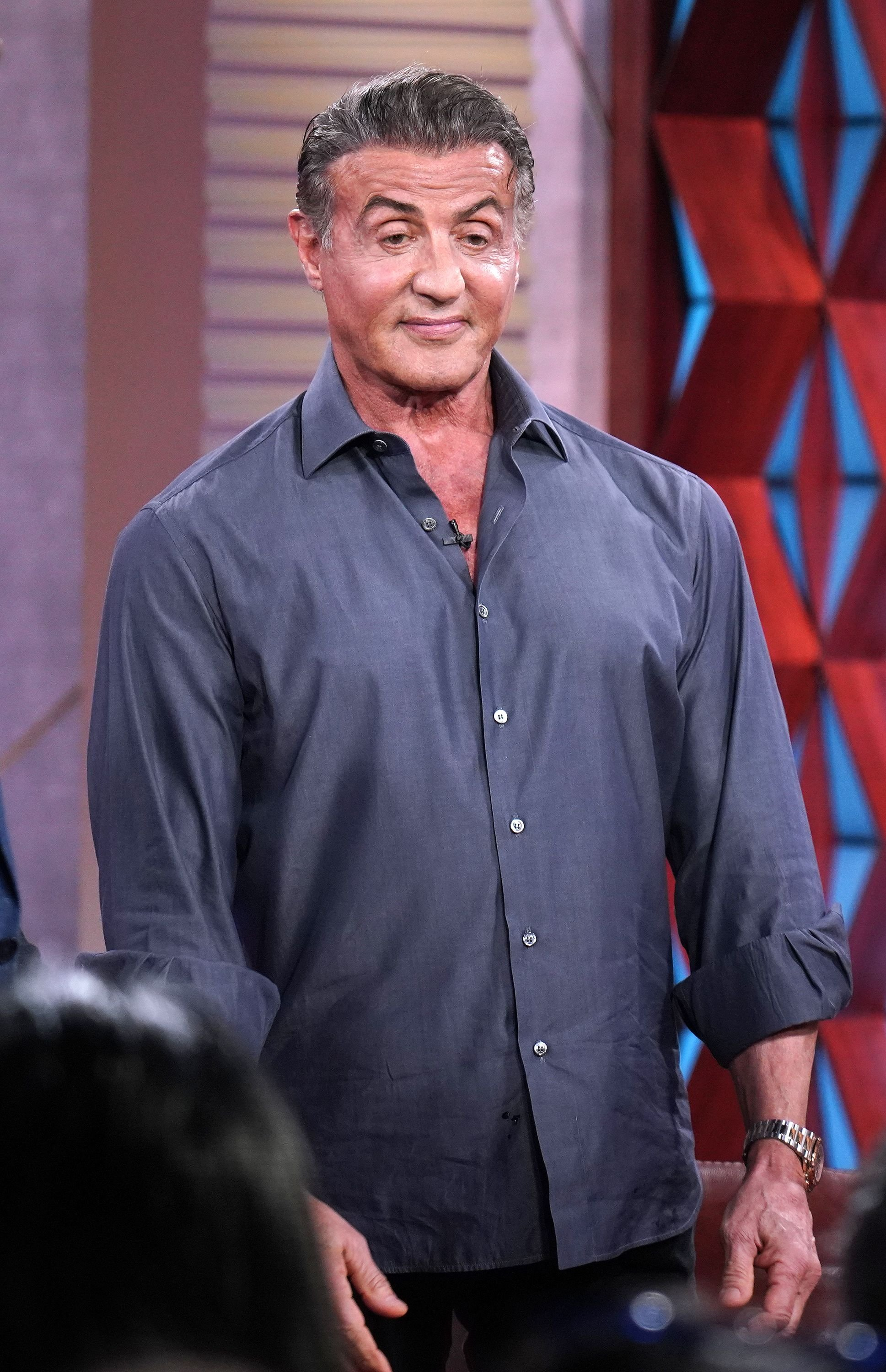 """Sylvester Stallone on the set of """"Un Nuevo Dia"""" at Telemundo Center to promote the film """"Rambo: Last Blood"""" on September 17, 2019. 