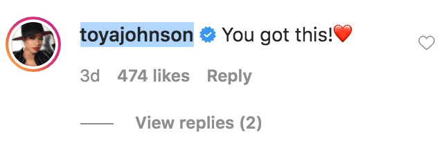 Toya Johnson commented on Angela Simmons' selfie of her posing with her son Sutton Tennyson in a car   Source: Instagram.com/angelasimmons