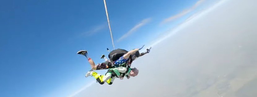 Photo of  103 year old, Al Blaschke skydiving   Photo: Youtube / ABC News