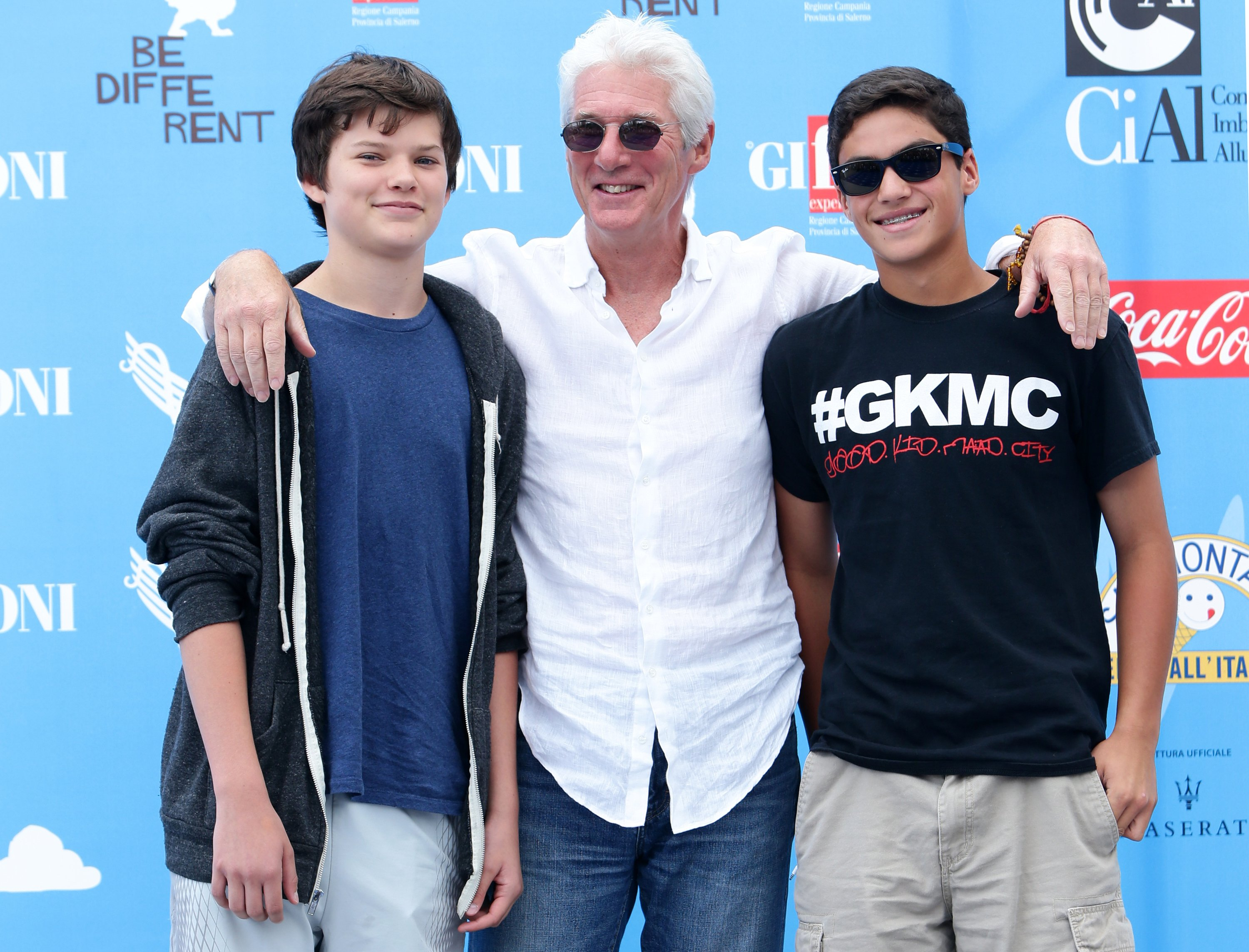 Richard Gere, his son Homer James (L) and a friend attend Giffoni Film Festival photocall on July 22, 2014, in Giffoni Valle Piana, Italy. | Source: Getty Images