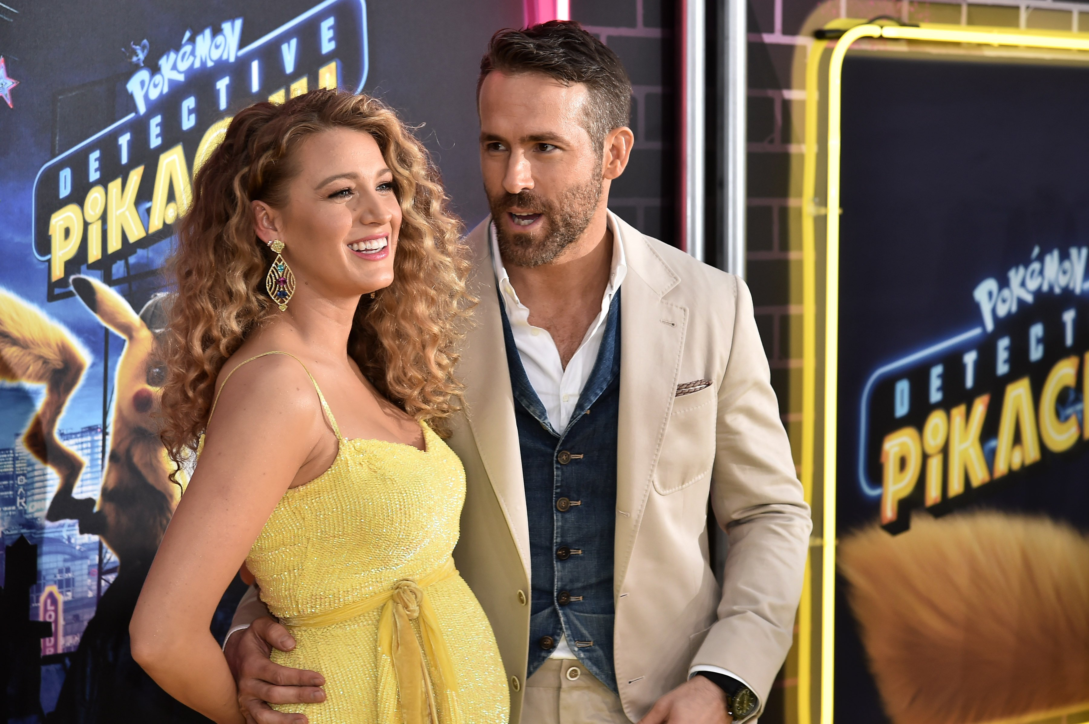 "Blake Lively and Ryan Reynolds attend the premiere of ""Pokemon Detective Pikachu"" at Military Island in Times Square on May 2, 2019. 