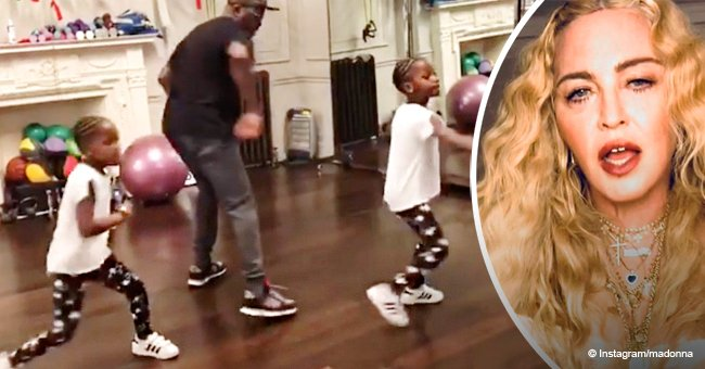 Madonna's twin girls show off spirited dance moves while taking a dance class