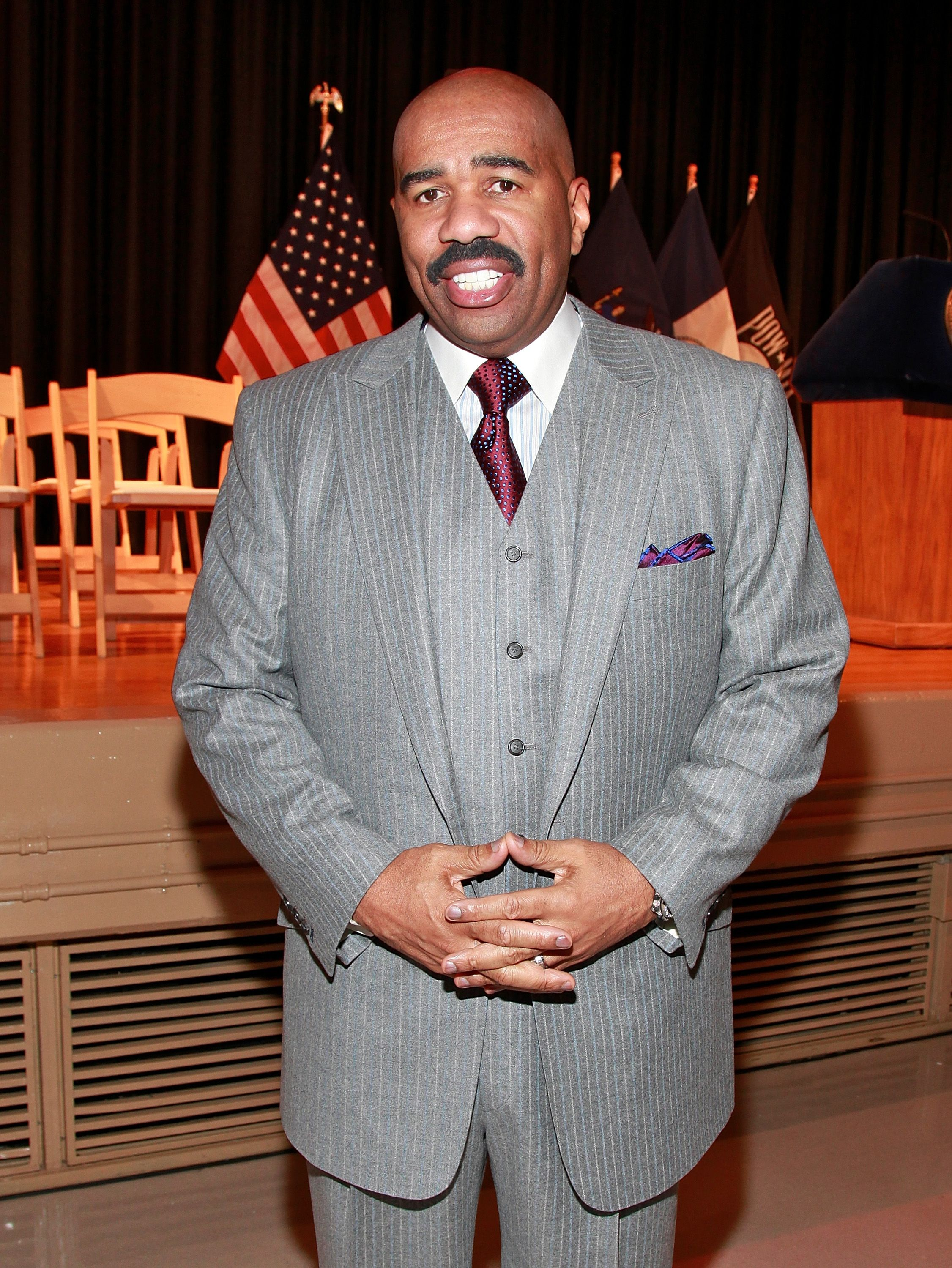 Steve Harvey during the NYC Service Mentor It Forward Program breakfast reception in honor of Martin Luther King Jr. Day at Martin Luther King High School on January 17, 2011 in New York City.   Source: Getty Images