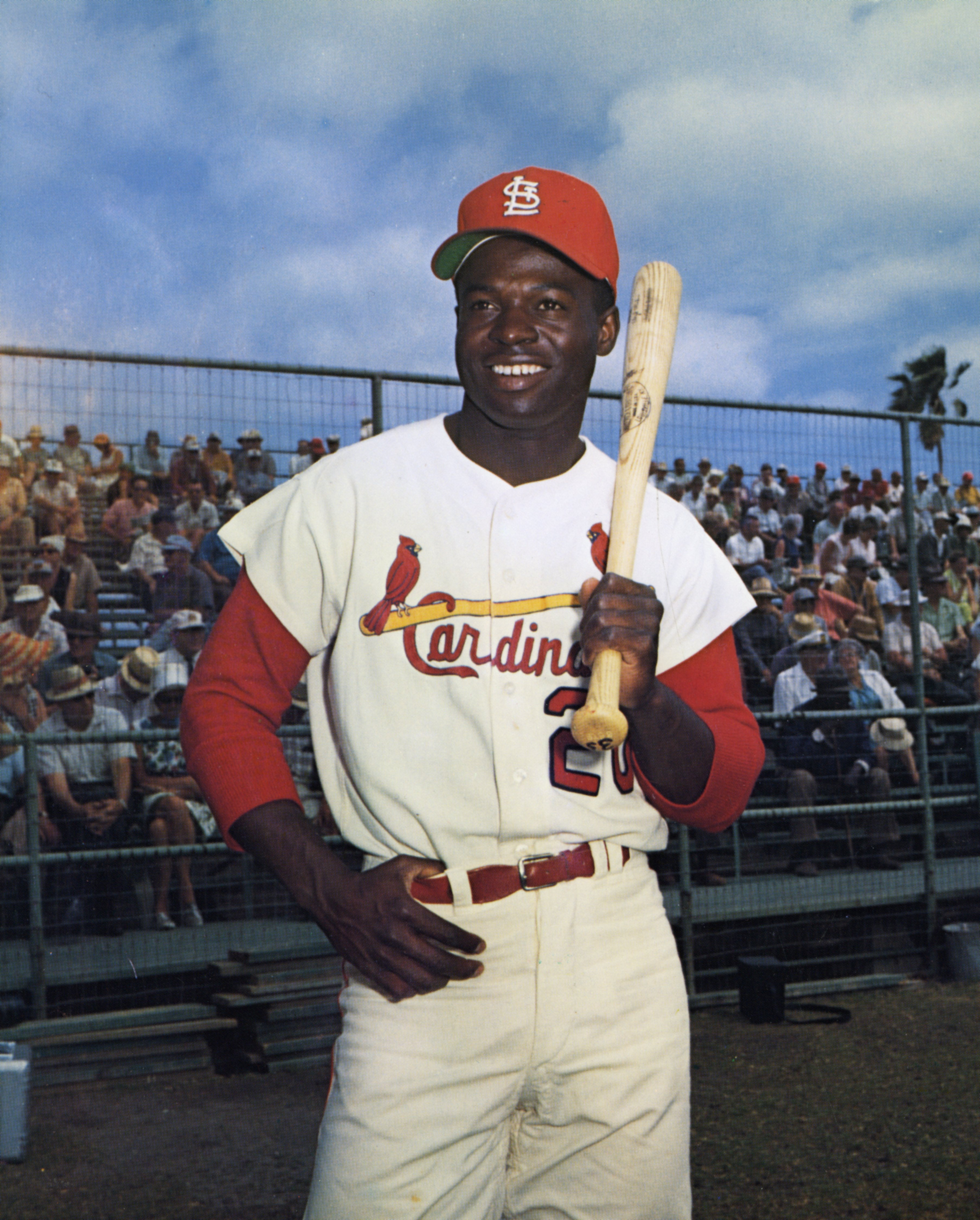 Lou Brock poses for a photograph at the St. Louis Cardinals spring training camp in March, 1965 in St. Petersburg, Florida. | Source: Getty Images