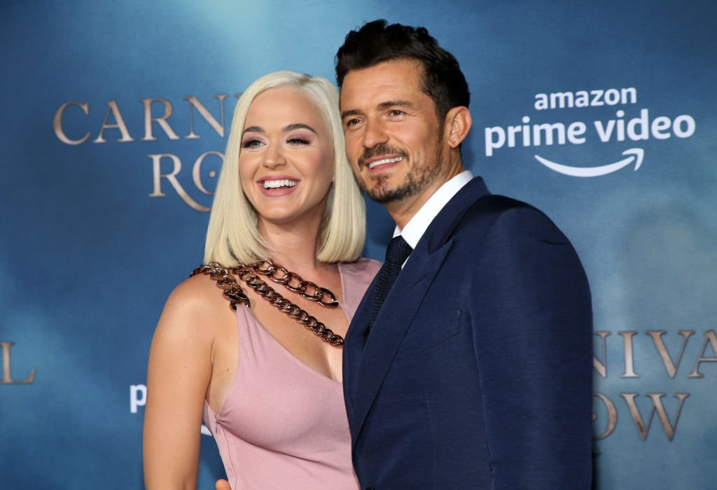 """Katy Perry and her fiancée, Orlando Bloom pictured at  the LA premiere of Amazon's """"Carnival Row"""" at TCL Chinese Theatre, 2019, California. 