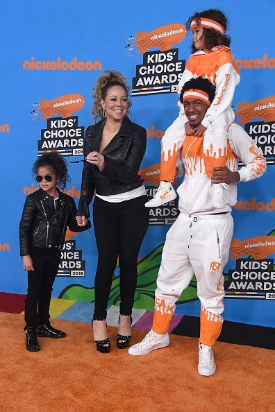 Monroe Cannon, Mariah Carey, Nick Cannon, and Moroccan Scott Cannon (top) attend Nickelodeon's 2018 Kids' Choice Awards at The Forum on March 24, 2018, in Inglewood, California. | Source: Getty Images.
