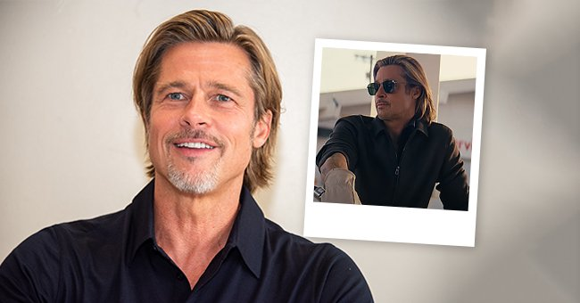 """Brad Pitt at the """"Ad Astra"""" Press Conference at the Hollywood Roosevelt on the left and a snap of Pitt in the new De'Longhi ad 
