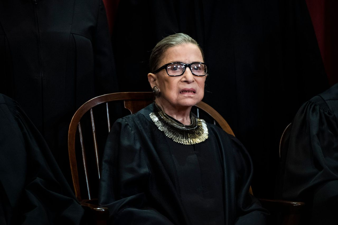 Ruth Bader Ginsburg's close up shot during a group photo at the Supreme Court on Friday, Nov. 30, 2018 in Washington, DC. | Source: Getty Images