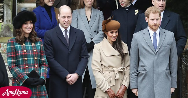 Princes William and Harry and their wives Kate Middleton and Meghan Markle after attending the Royal Family's traditional Christmas Day church service at St Mary Magdalene Church in Sandringham, Norfolk, eastern England, on December 25, 2017.| Source: Getty Images