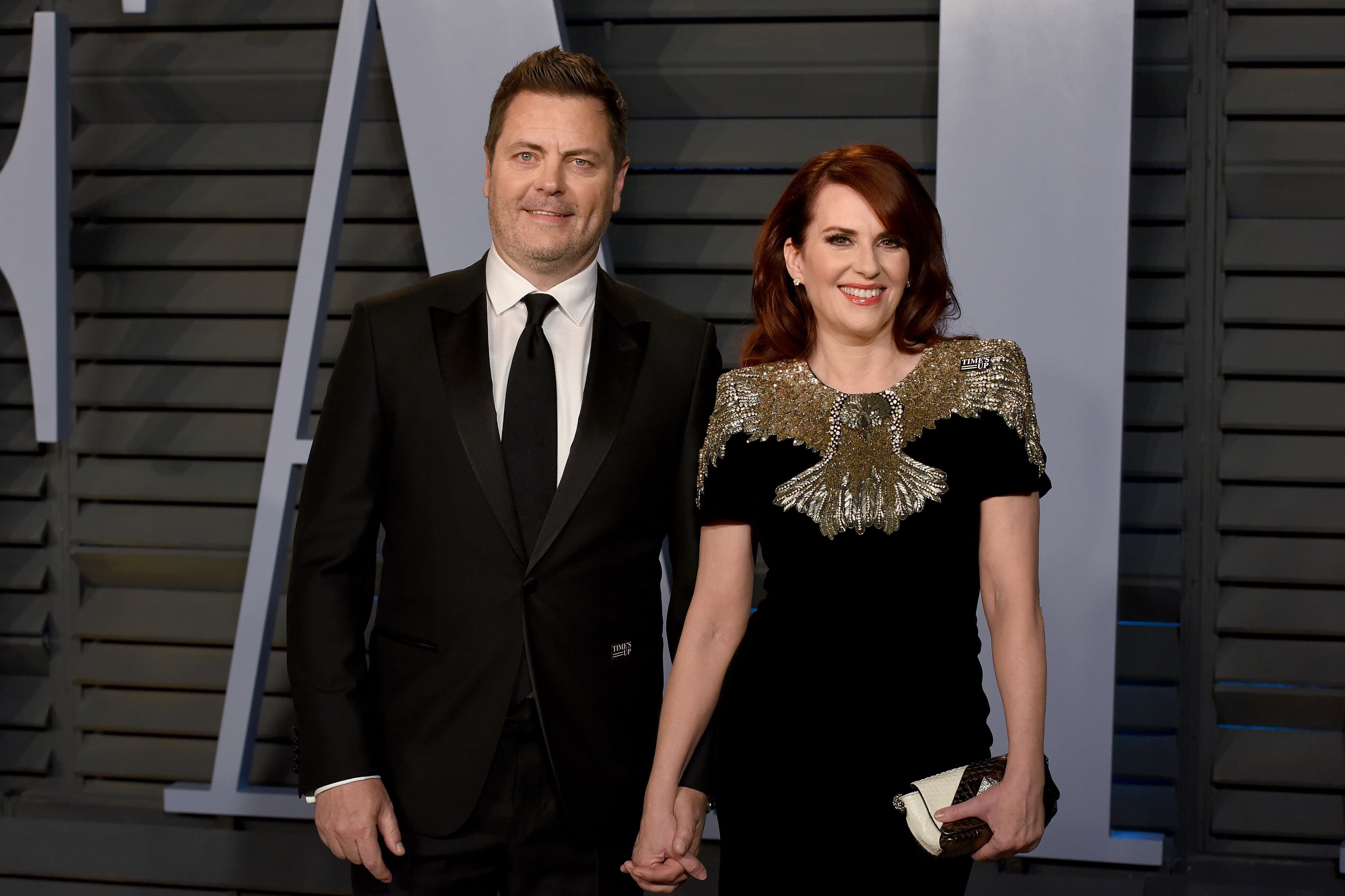 Nick Offerman and Megan Mullally attend the 2018 Vanity Fair Oscar Party in Los Angeles | Source: Getty Images