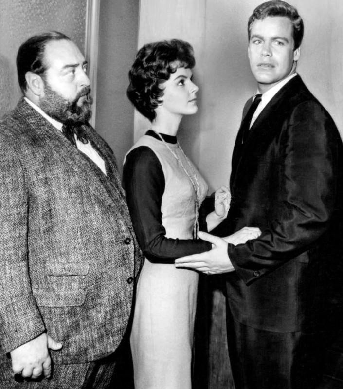 "Sebastian Cabot, Carolyn Craig, and Doug McClure in ""Checkmate"" 