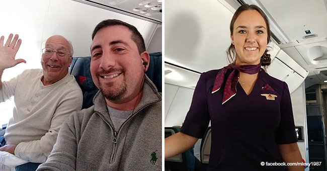 Father flies with his daughter stewardess all Christmas Eve so she didn't feel alone