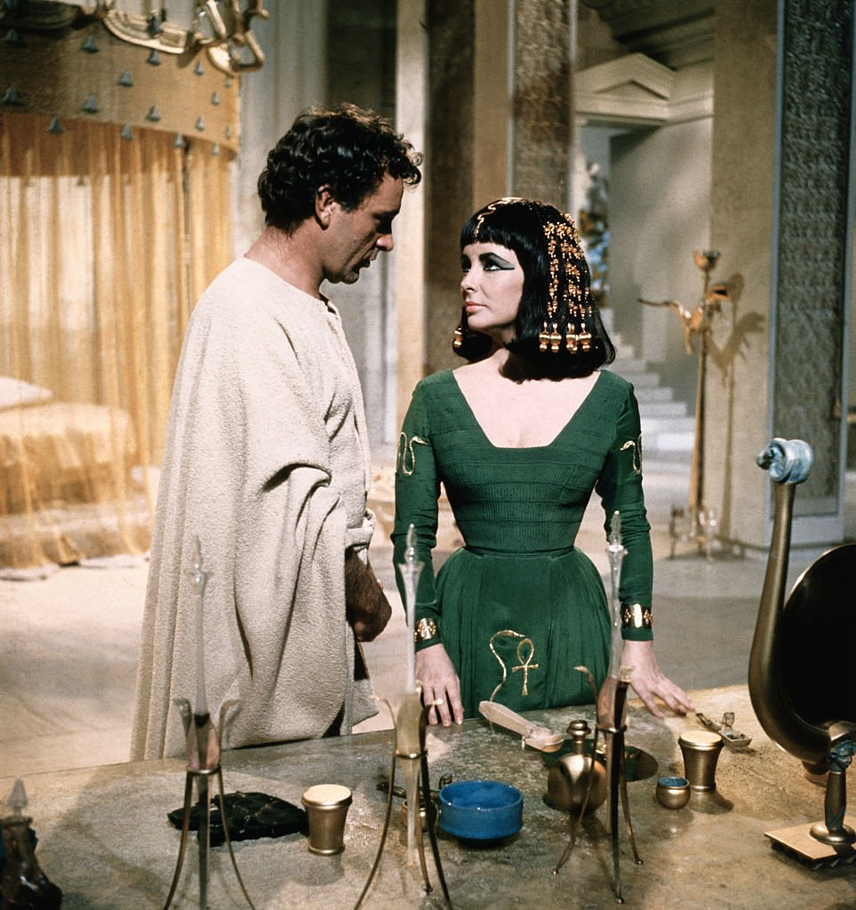 """Richard Burton as Marc Antony with Liz Taylor as Cleopatra during the filming of """"Cleopatra"""" in 1963. 