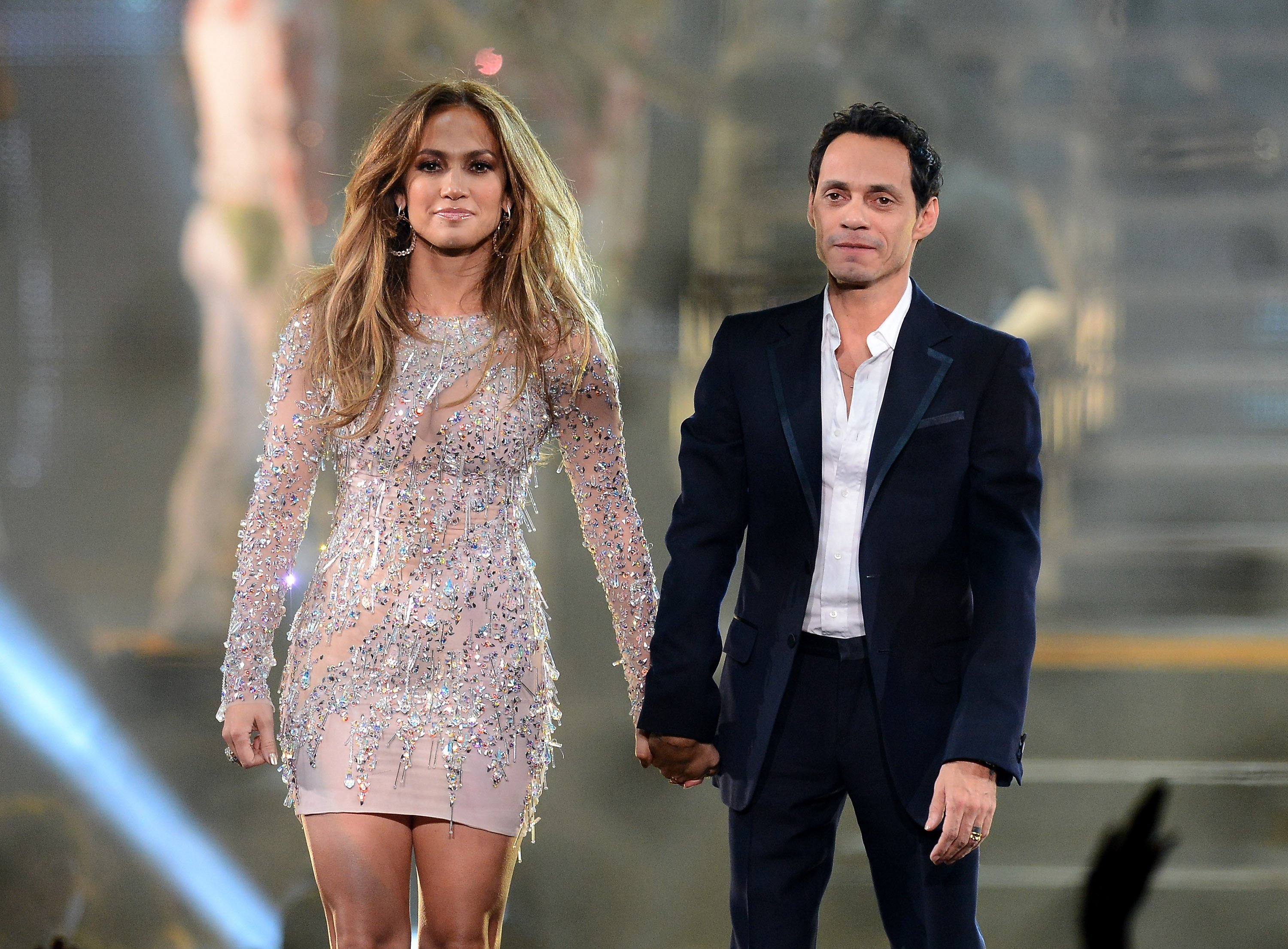 Jennifer Lopez (L) and singer Marc Anthony appear during the finale of the Q'Viva! The Chosen Live show at the Mandalay Bay Events Center on May 26, 2012, in Las Vegas, Nevada. | Source: Getty Images.