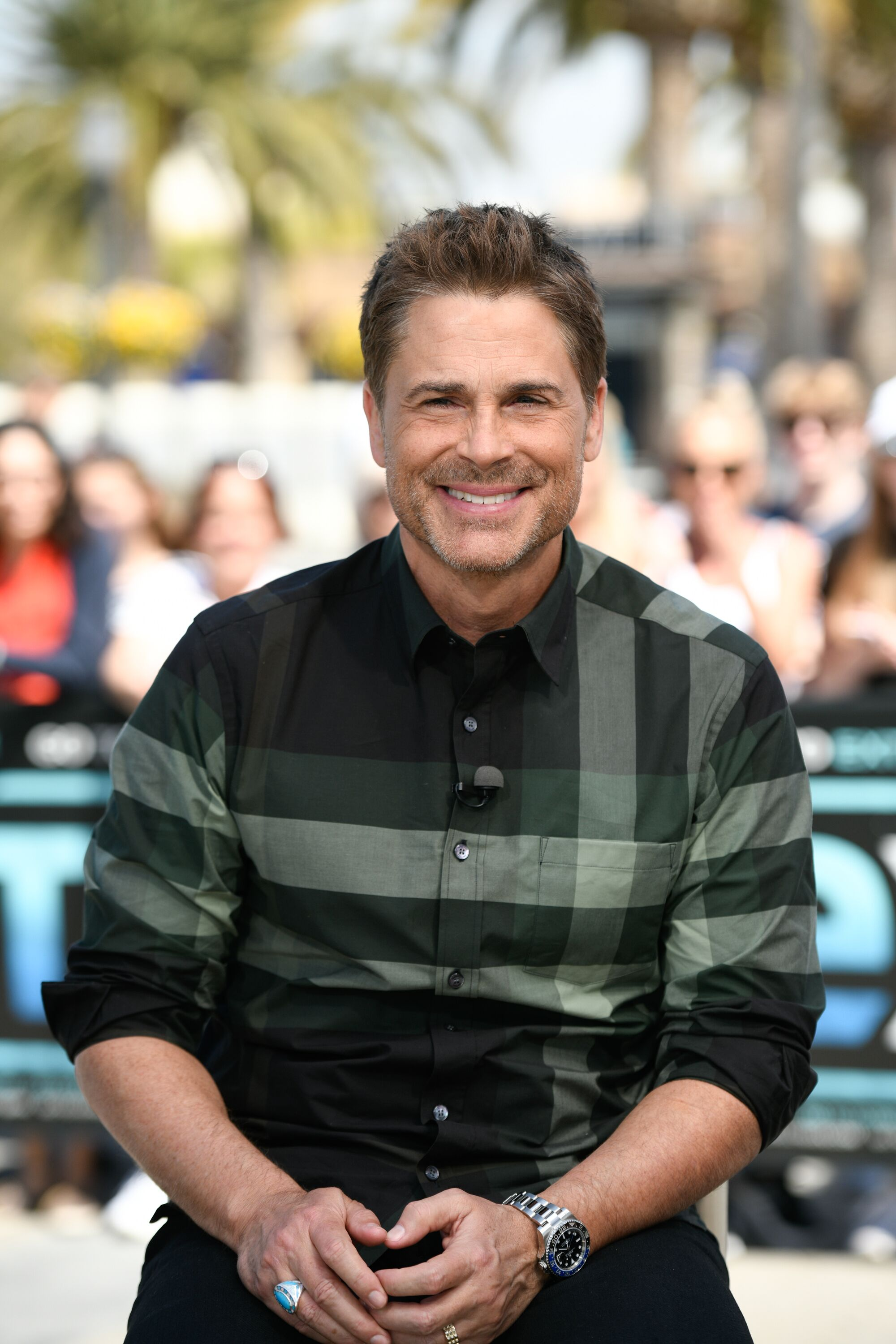 "Rob Lowe visits ""Extra"" at Universal Studios Hollywood. 