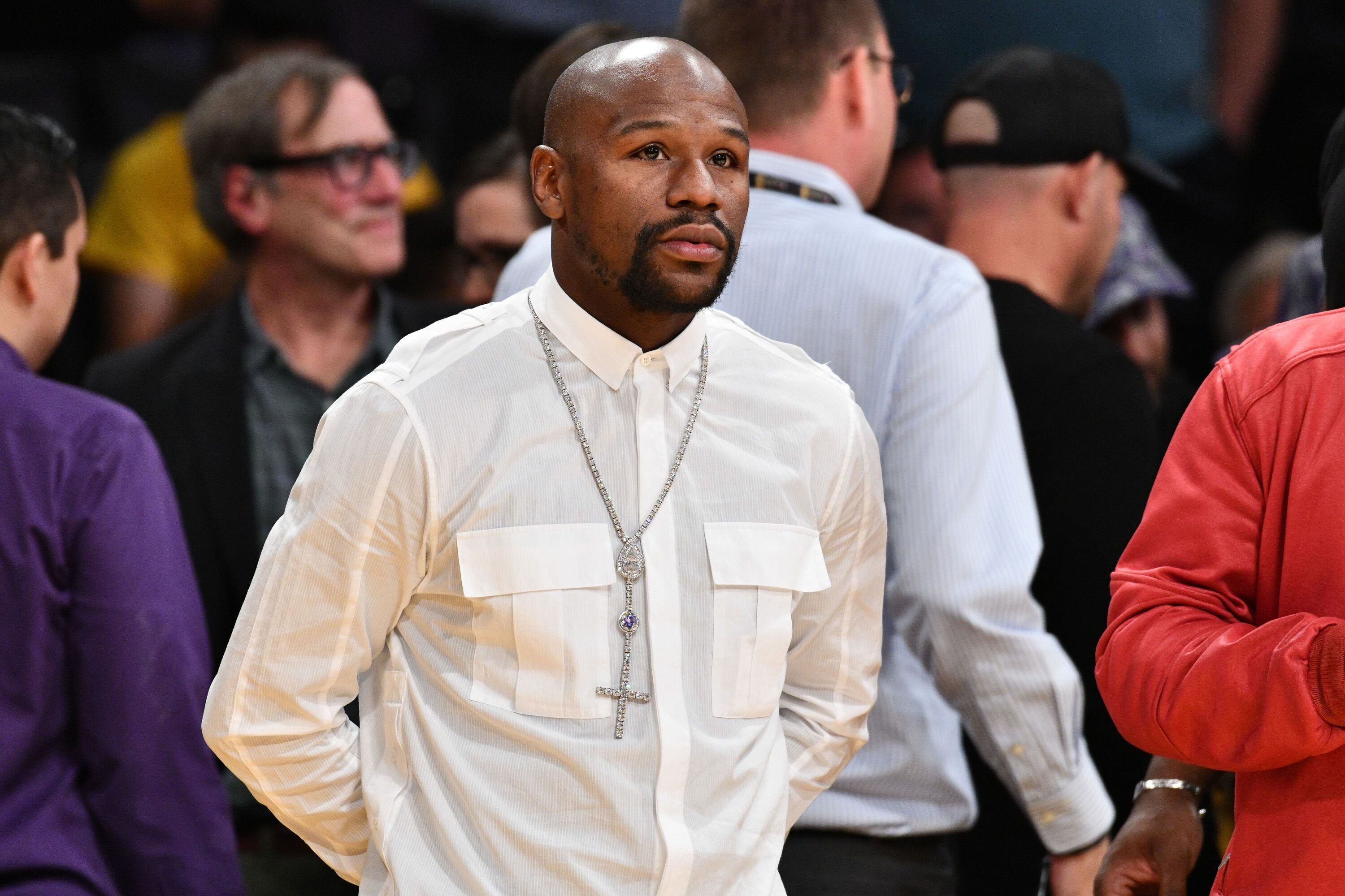 Floyd Mayweather Jr. attends a basketball game between the Los Angeles Lakers and the Atlanta Hawks at Staples Center on November 11, 2018 in Los Angeles, California. | Source: Getty Images