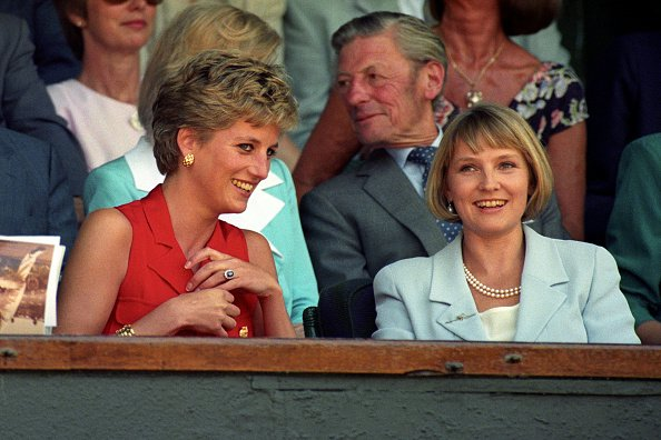 Princess Diana chatting with Julia Samuel in the royal box on centre court, undated picture. | Photo: Getty Images