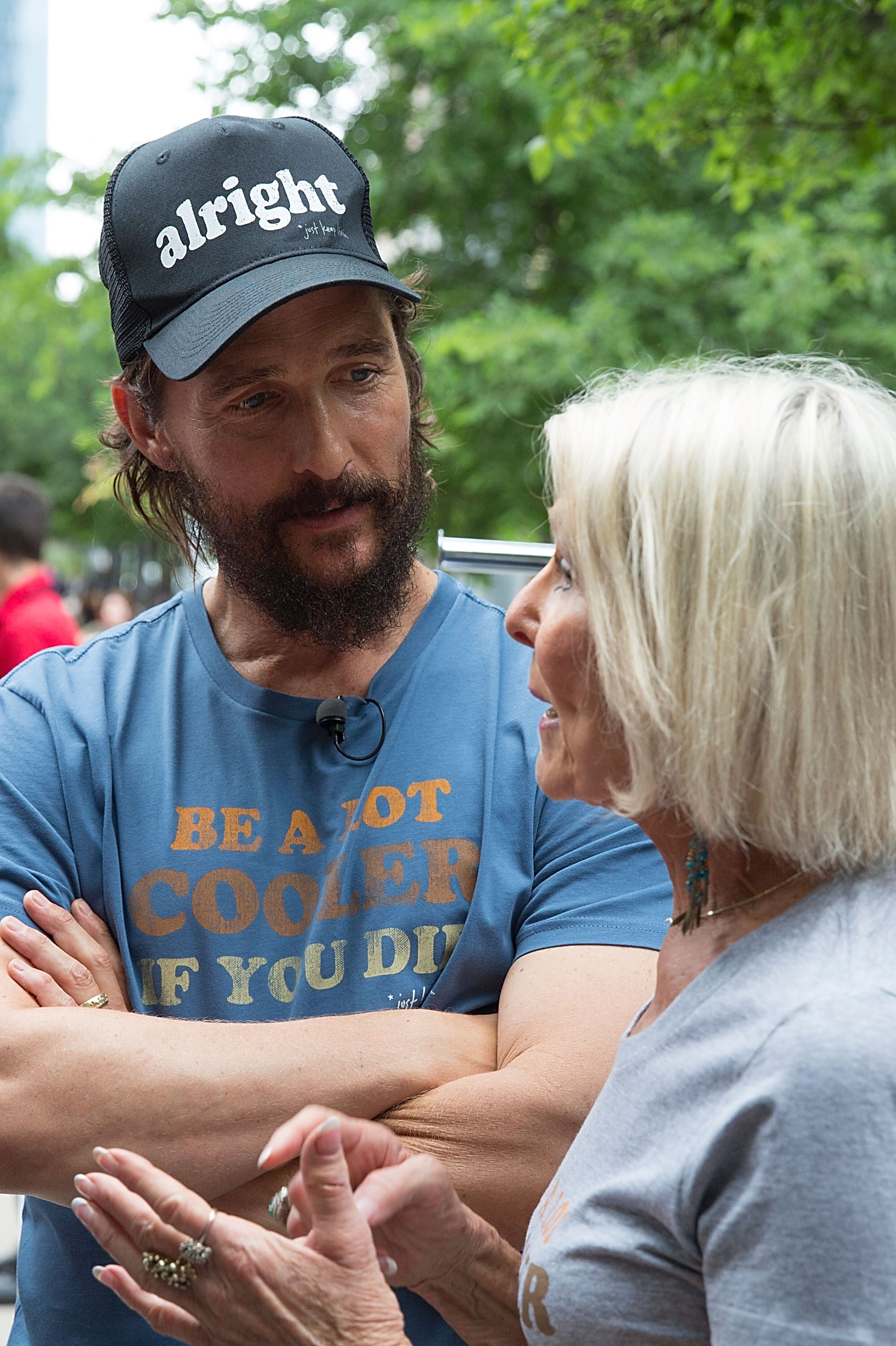 Matthew McConaughey and his mother Kay McConaughey  in 2015 in Austin, Texas | Source: Getty Images