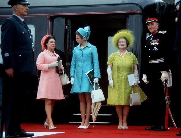 Princess Margaret, Queen Elizabeth II, and The Queen Mother at the investiture of Prince Charles, Prince of Wales on July 1, 1969 in Caernarvon, Wales | Photo: Getty Images