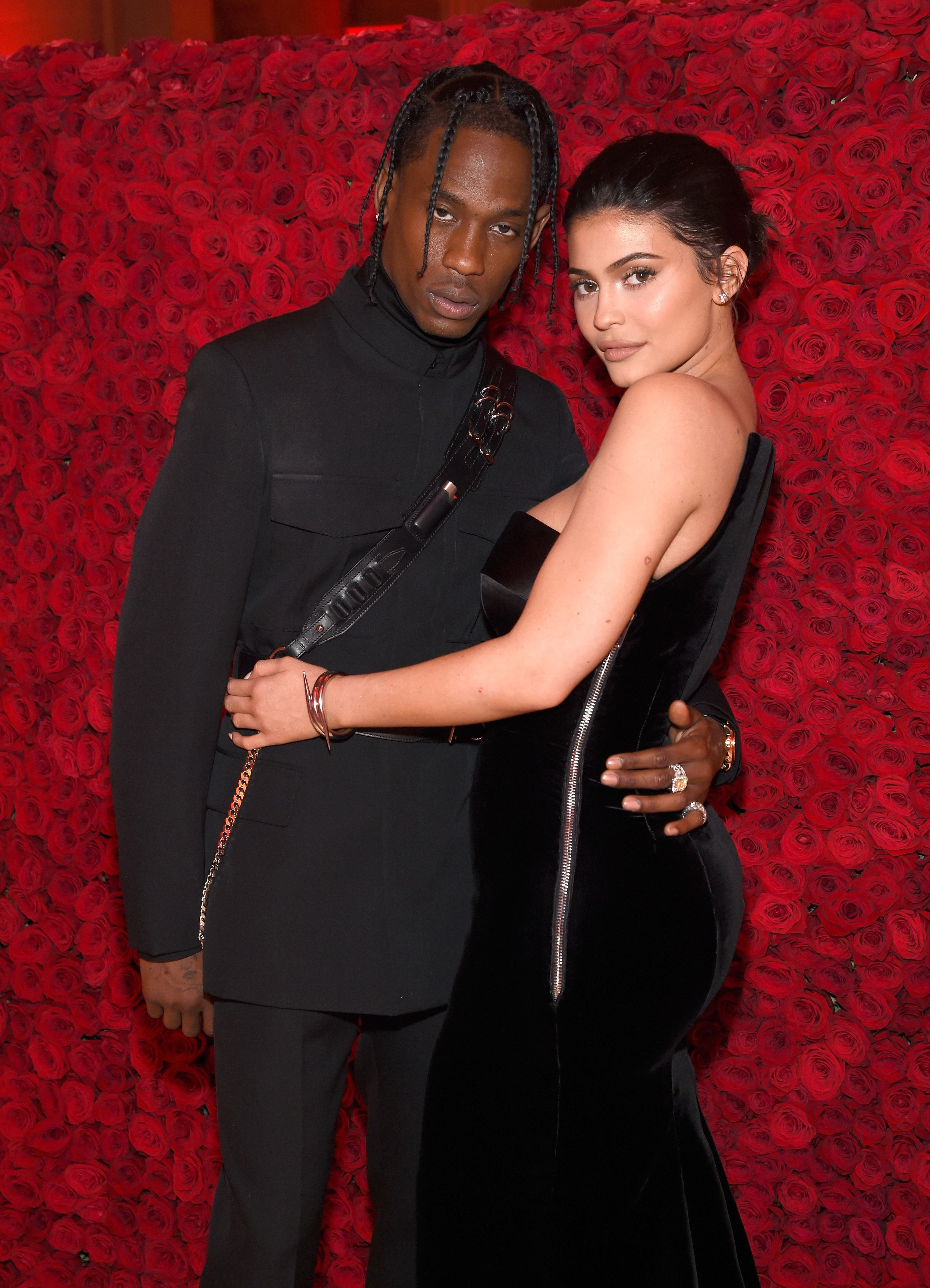 Travis Scott and Kylie Jenner atthe Heavenly Bodies: Fashion & The Catholic Imagination Costume Institute Gala on May 7, 2018, in New York City   Photo:Kevin Mazur/MG18/Getty Images
