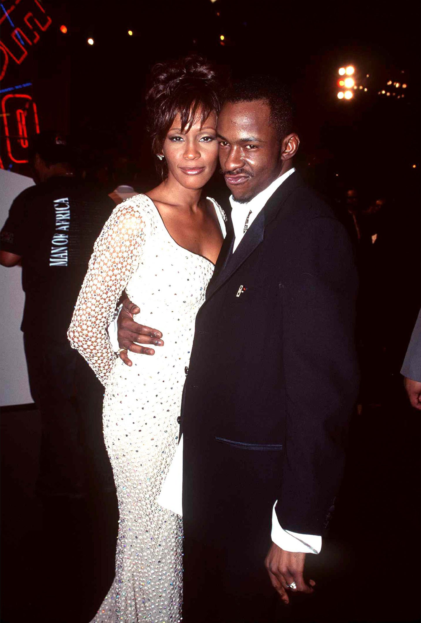 Whitney Houston and Bobbby Brown attending an event in 1996.   Photo: Getty Images