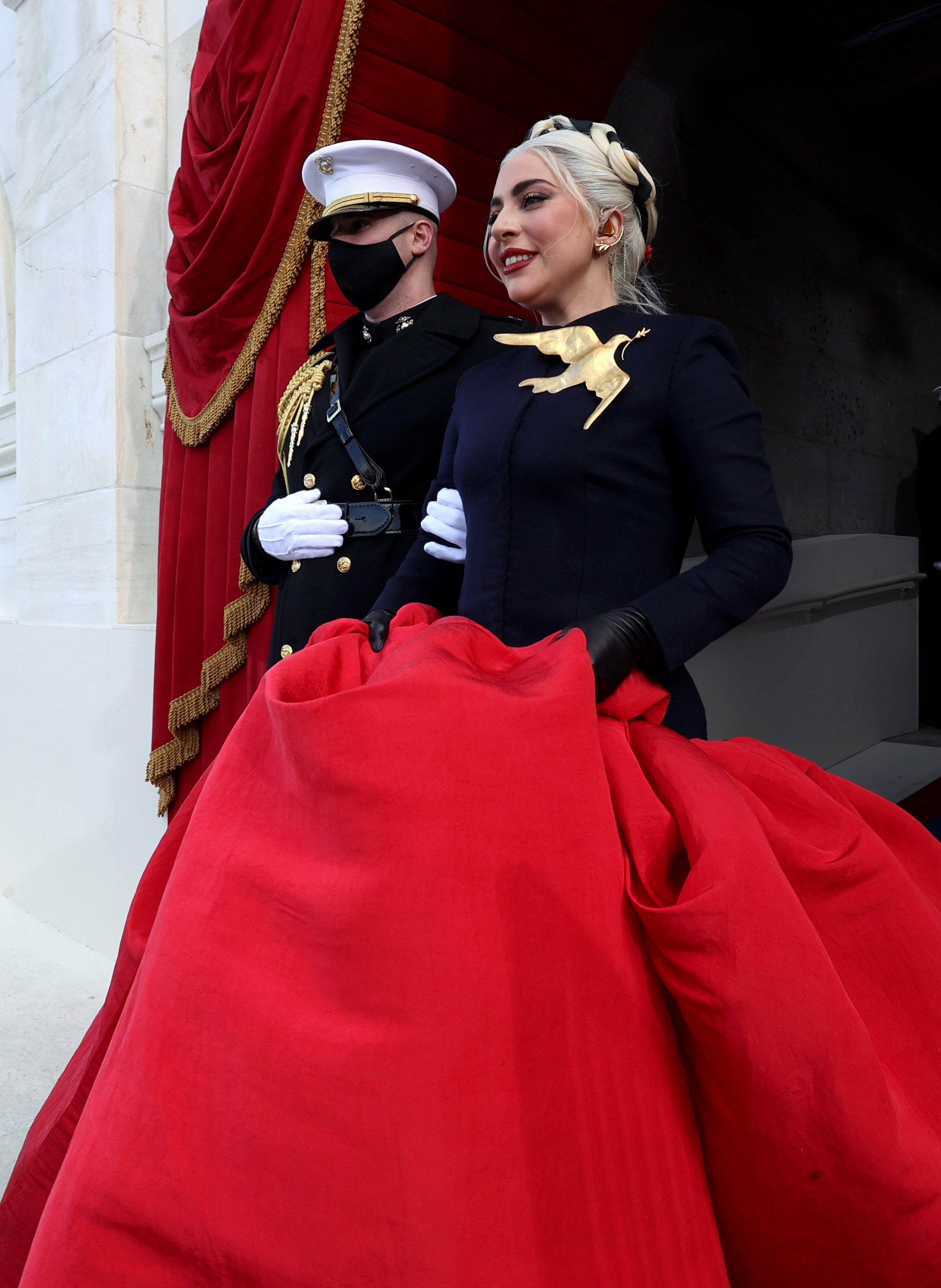 Lady Gaga arriving to give a powerful rendition of the National Anthem at the Presidential Inauguration at the capital, January, 2021. | Photo: Getty Images.